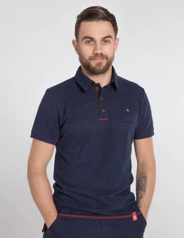 Men's Polo Shirt Wings. Color dark blue. 10.