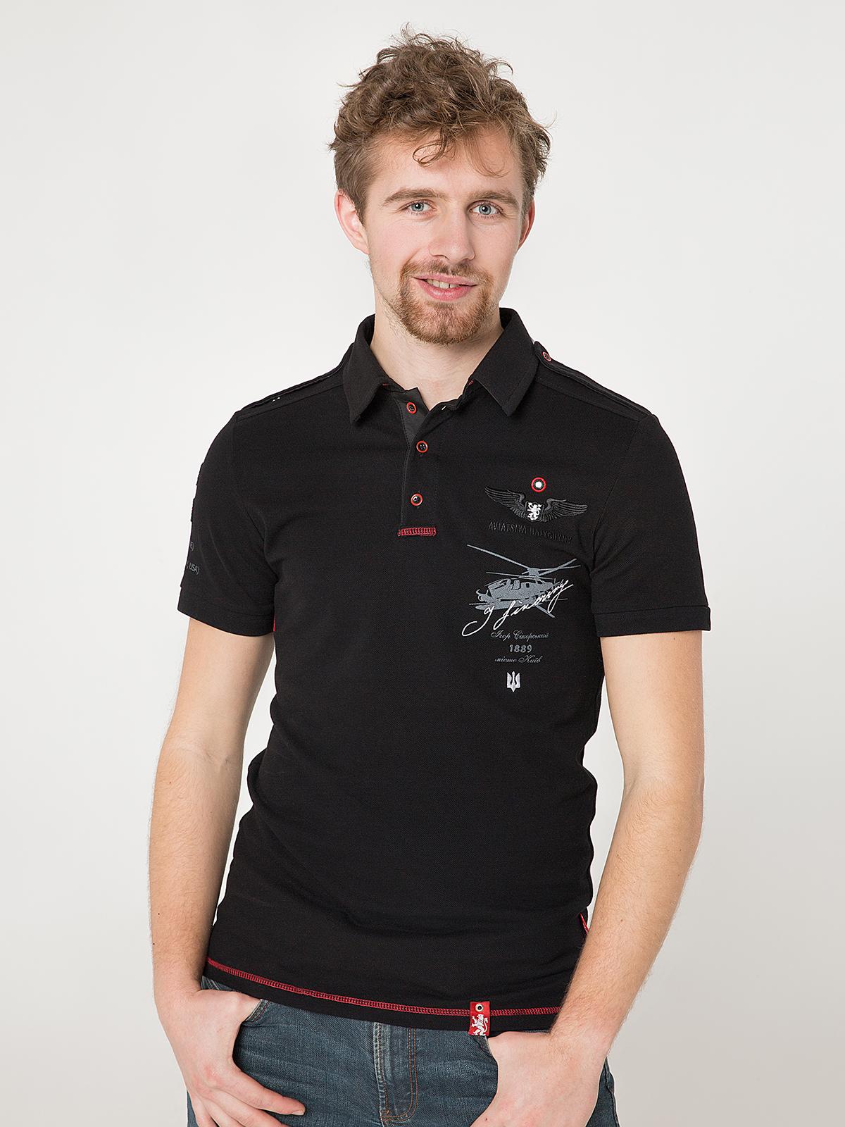 Men's Polo Shirt Sikorsky. Color black. Pique fabric: 100% cotton.