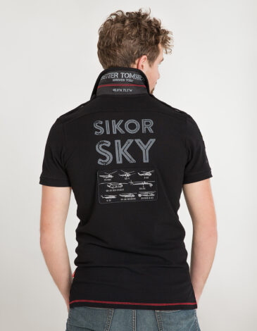 Men's Polo Shirt Sikorsky. Color black.  Size worn by the model: М.