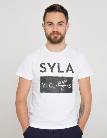 Men's T-Shirt Syla. Color white. Unisex T-shirt (men's sizes).