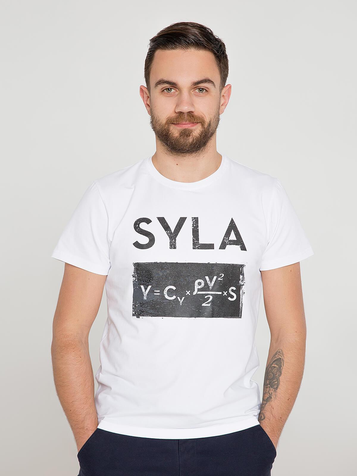 Men's T-Shirt Syla. Color white. Unisex T-shirt (men's sizes).