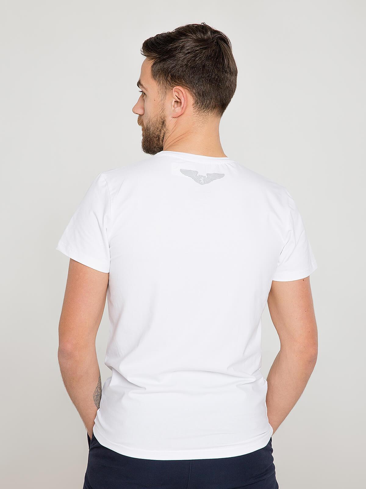 Чоловіча Футболка Syla. Колір білий.  Матеріал: 95% бавовна, 5% спандекс.