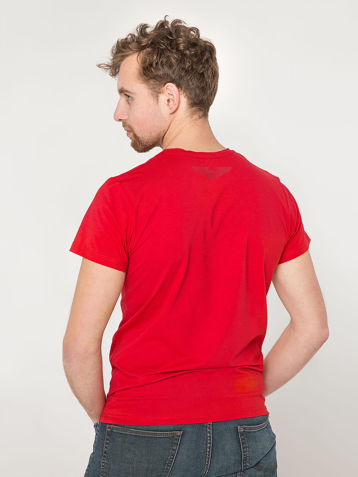 Чоловіча Футболка Народжений Літати. Колір червоний.  Матеріал: 95% бавовна, 5% спандекс.