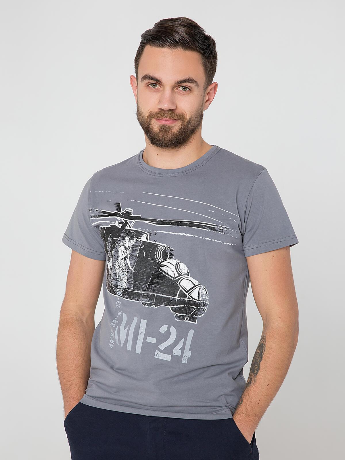 Men's T-Shirt Мі-24. Color gray. Material: 95% cotton, 5% spandex.