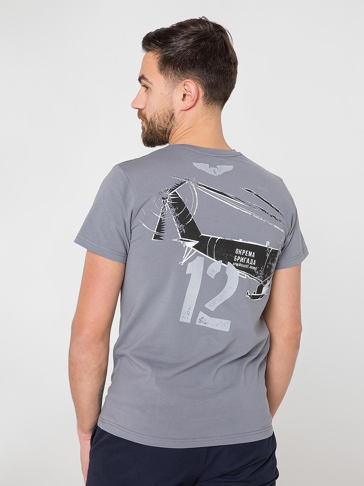 Men's T-Shirt Мі-24. Color gray.  Technique of prints applied: silkscreen printing.