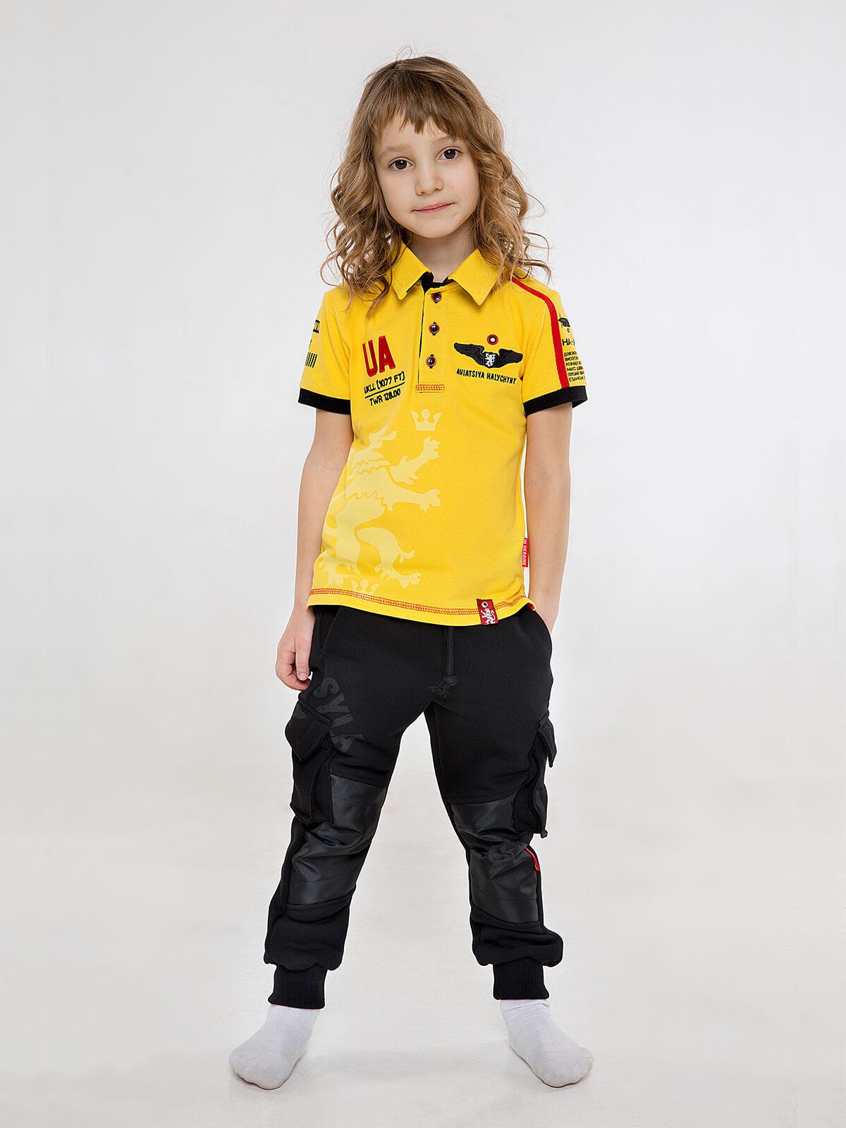 Kids Polo Shirt Follow Me. Color yellow. 4.