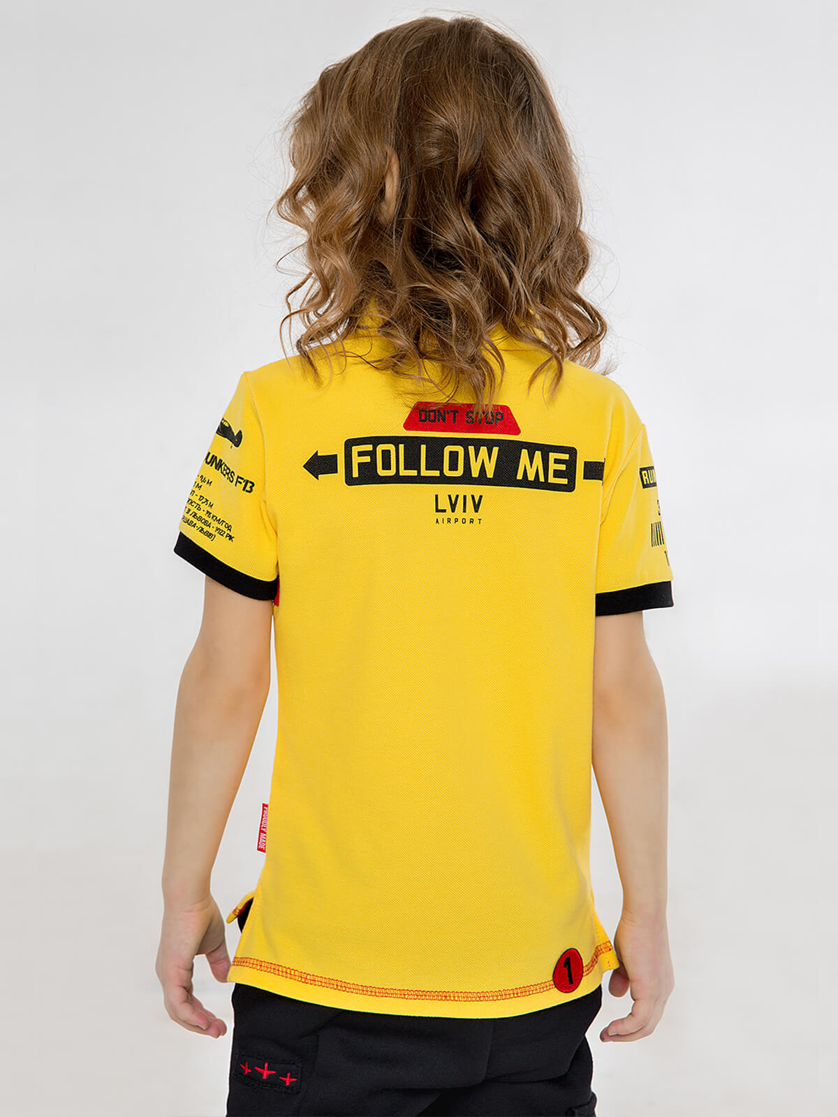 Kids Polo Shirt Follow Me. Color yellow. .
