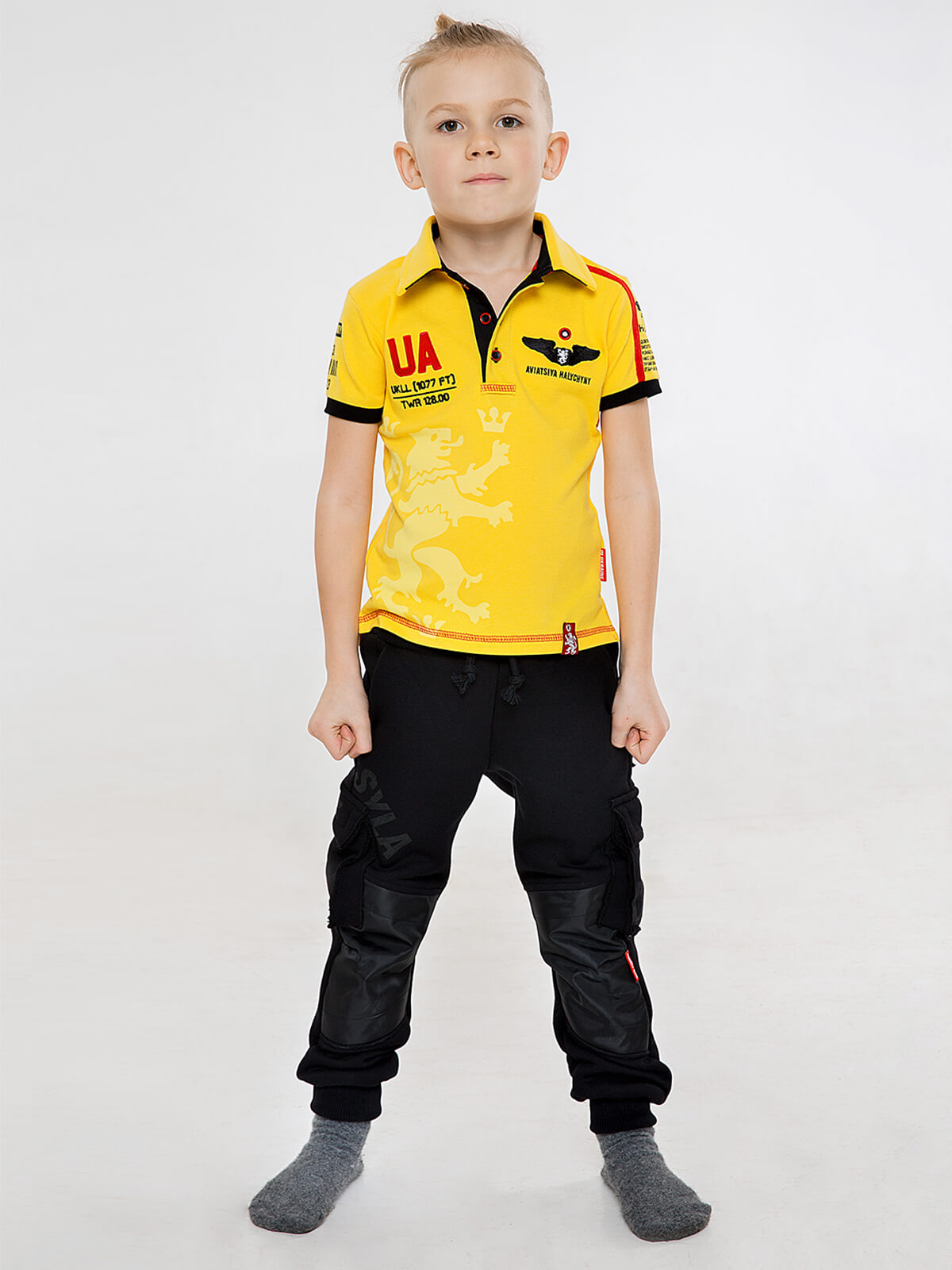 Kids Polo Shirt Follow Me. Color yellow.  The color shades on your screen may differ from the original color.