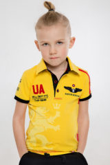 Kids Polo Shirt Follow Me. Pique fabric: 100% cotton.