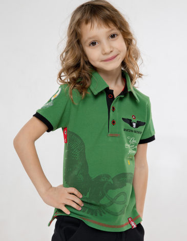 Kids Polo Shirt Ivan Franko. Color green. Polo: unisex, well suited for both boys and girls.