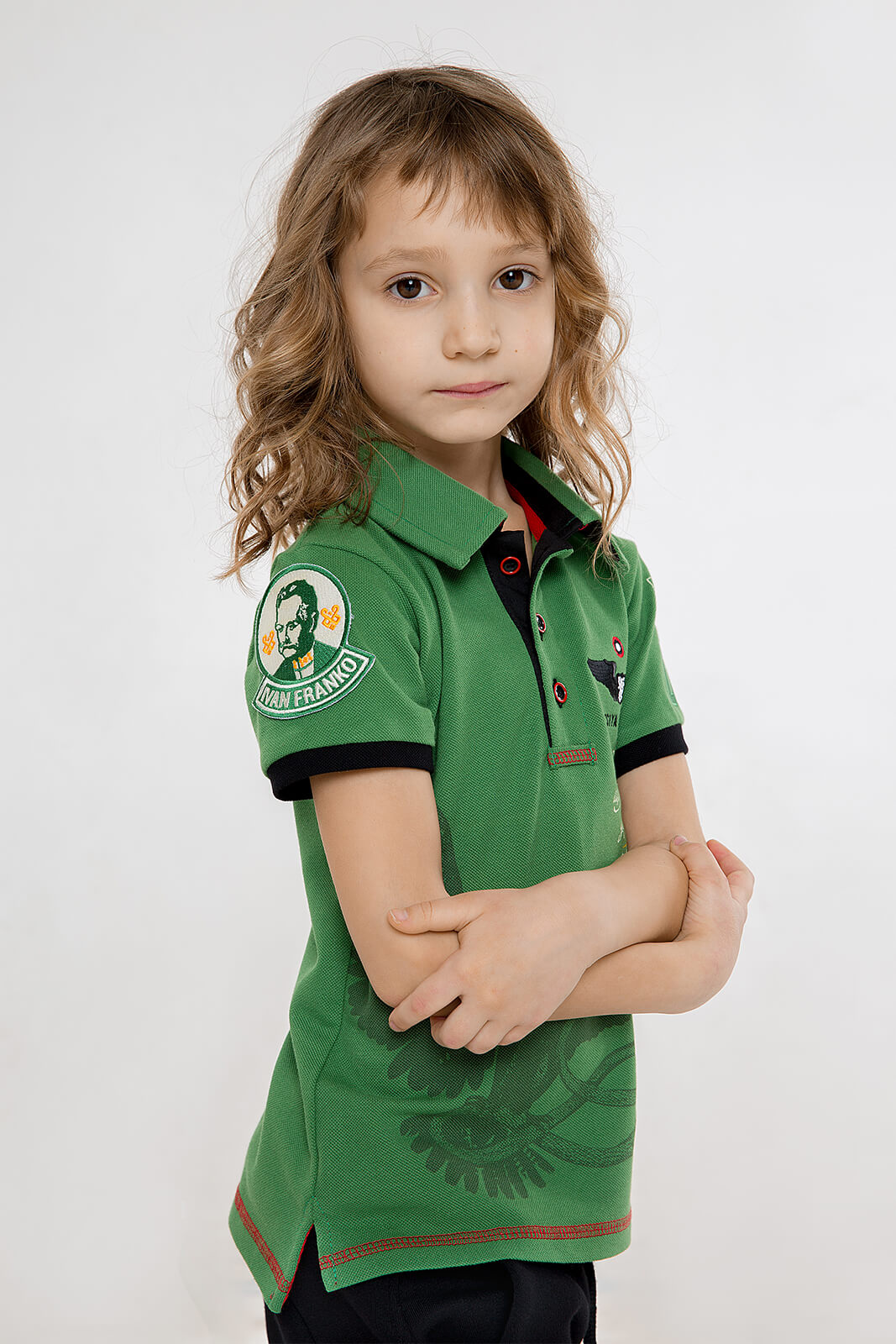 Kids Polo Shirt Ivan Franko. Color green.  Material: 100% cotton.