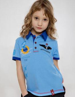 Kids Polo Shirt Ukrainian Falcons. Color sky blue. 100% БАВОВНА.