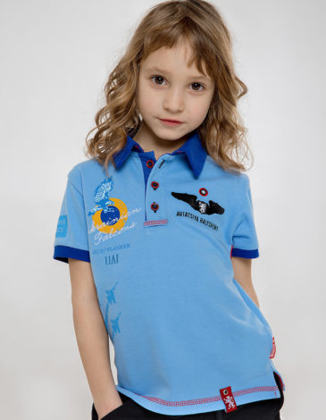 Kids Polo Shirt Ukrainian Falcons. Color sky blue. Pique fabric: 100% cotton.