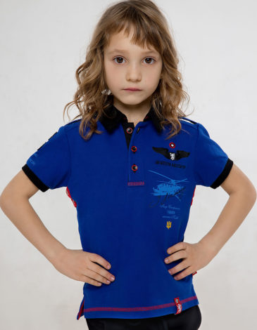 Kids Polo Shirt Sikorsky. Color navy blue. Pique fabric: 100% cotton.