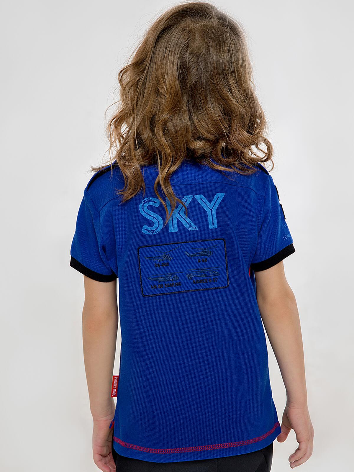 Дитяче Поло Sikorsky. Колір синій.  Матеріал: 100% бавовна.