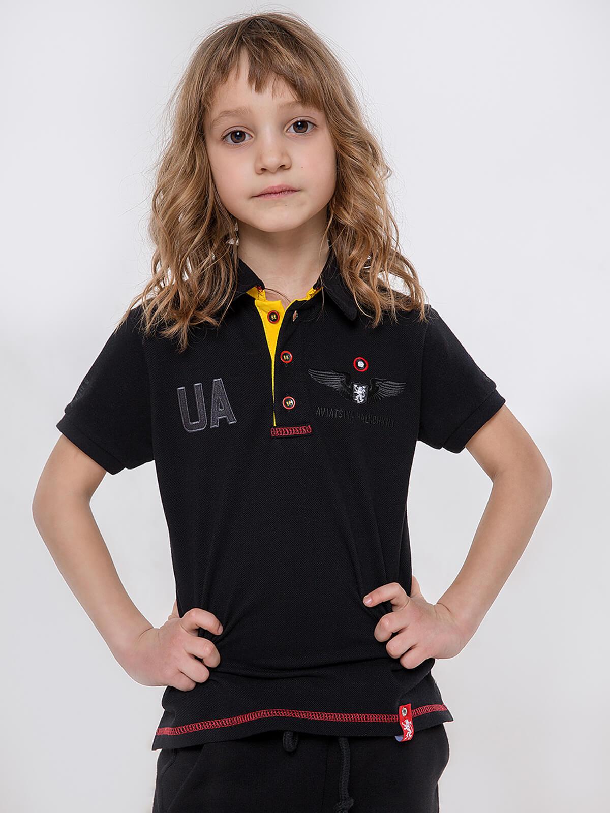 Kids Polo Shirt Seraphim. Color black. Pique fabric: 100% cotton.