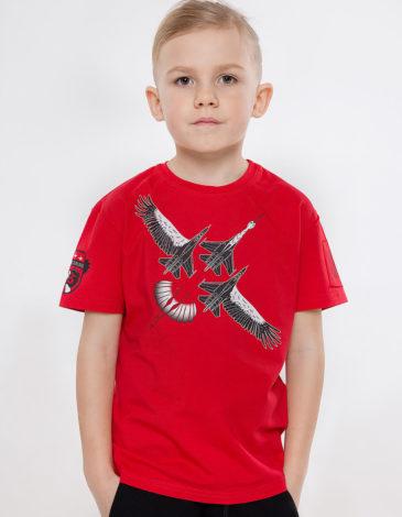 Дитяча Футболка Лелека. Колір червоний. Футболка: унісекс, добре пасує і хлопцям, і дівчатам.