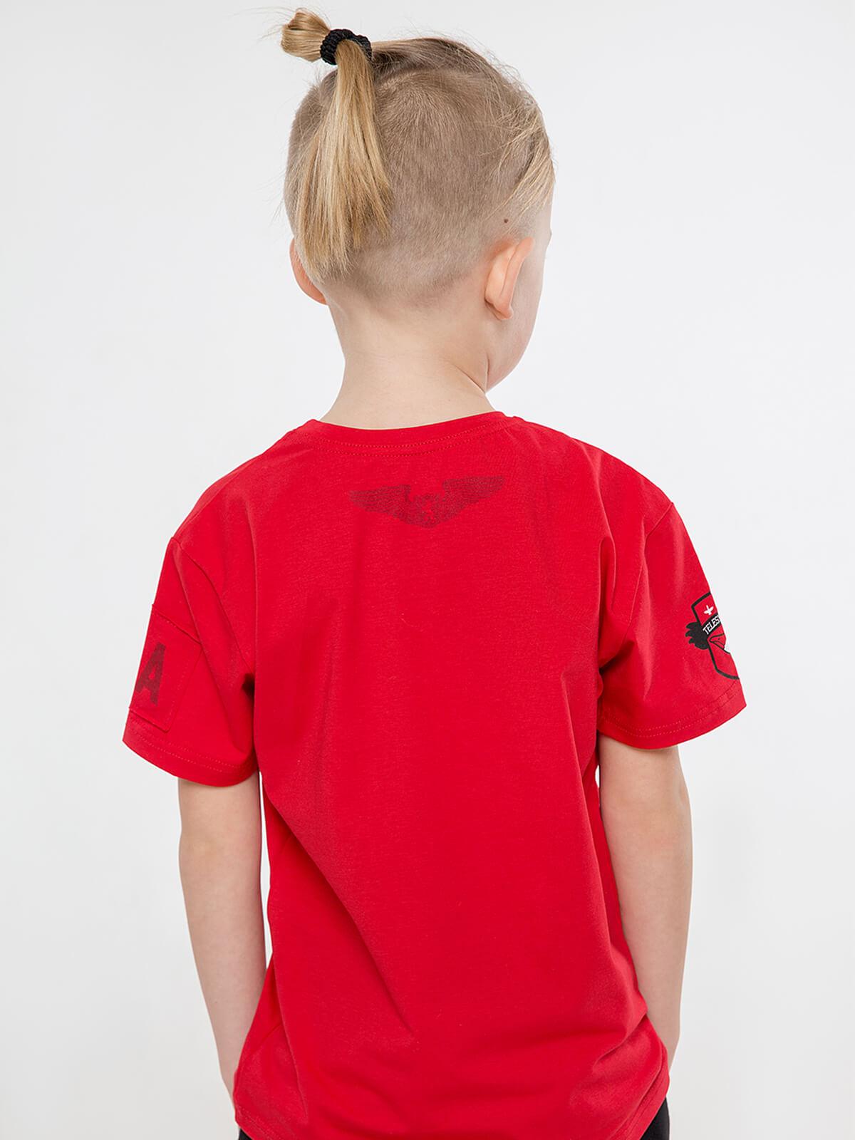 Дитяча Футболка Лелека. Колір червоний.   Технологія нанесення зображень: шовкодрук.