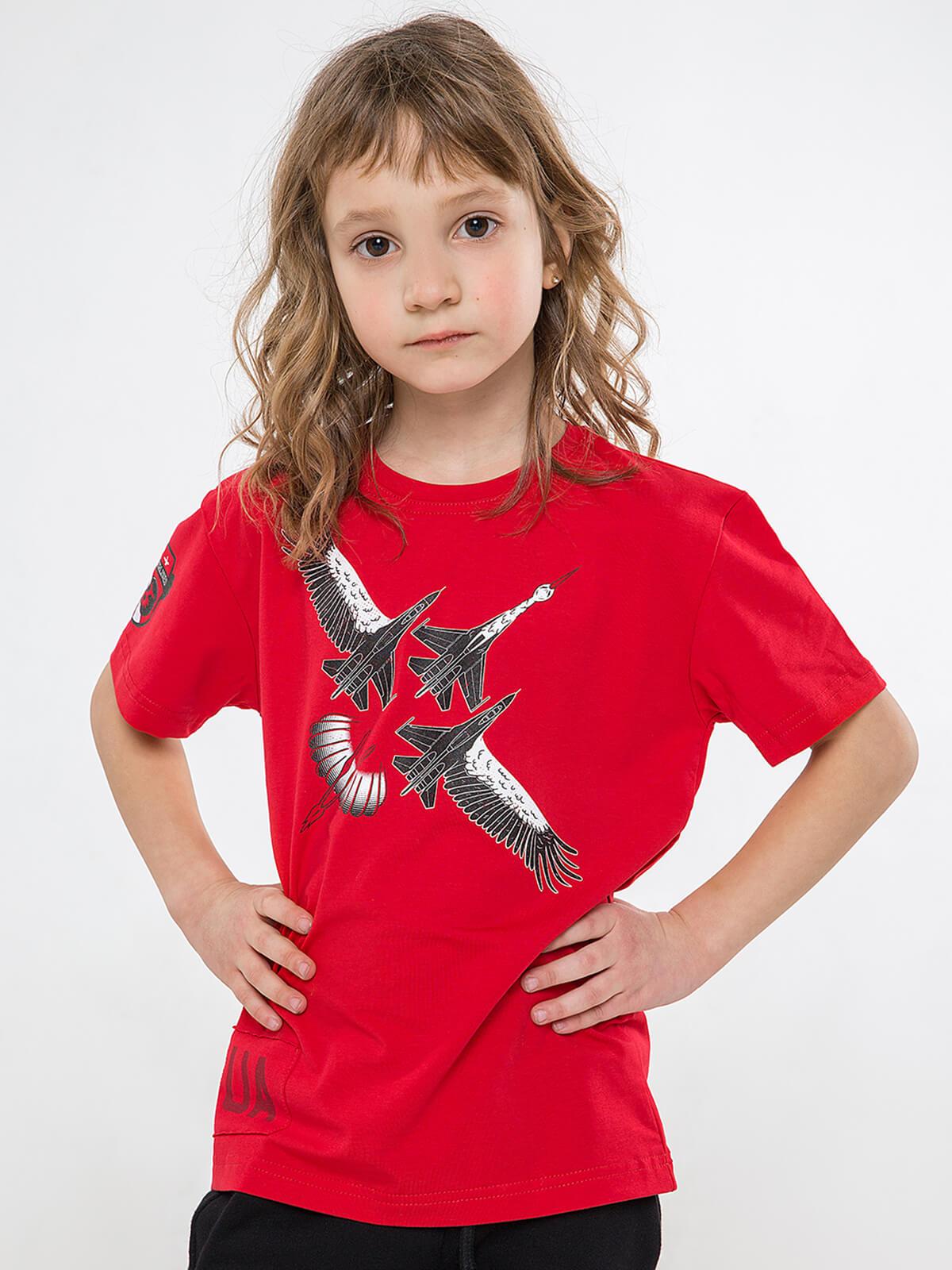 Дитяча Футболка Лелека. Колір червоний. .