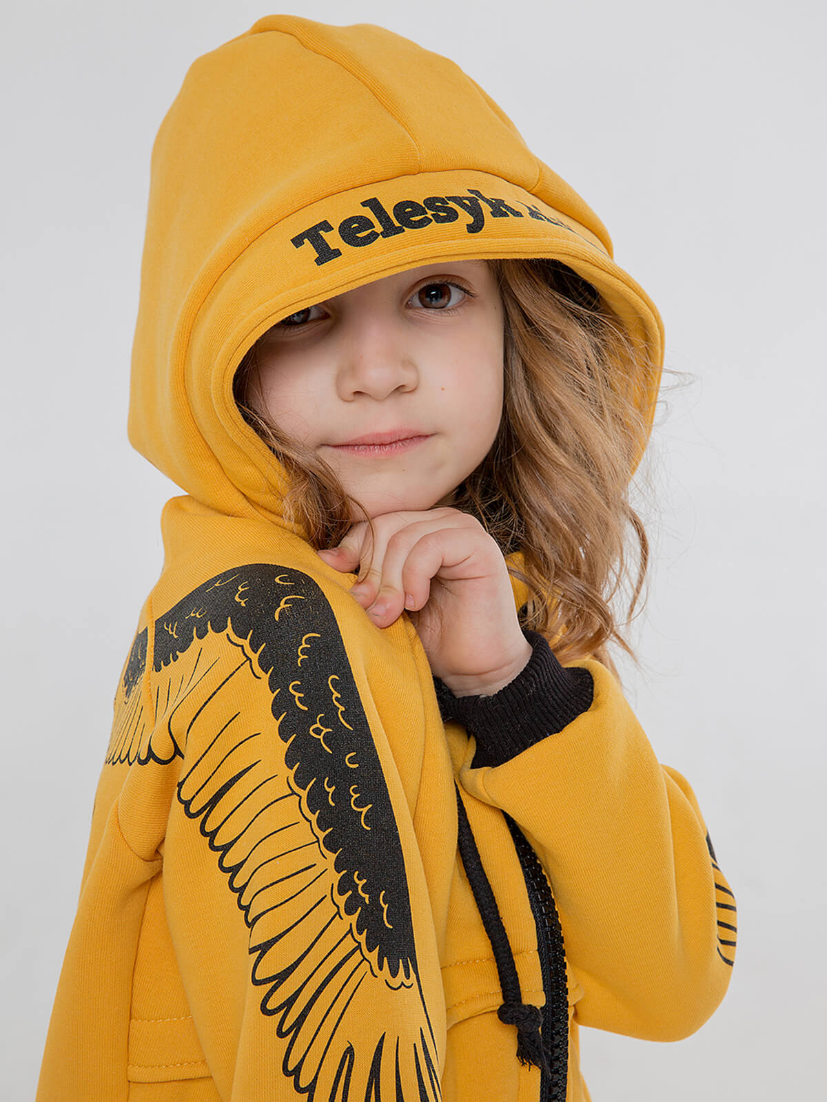Kids Hoodie Stork. Color yellow.  The color shades on your screen may differ from the original color.