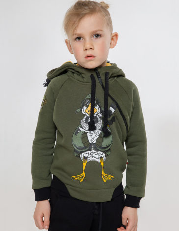 Kids Hoodie Goose. Color khaki.  Material of the hoodie – three-cord thread fabric: 77% cotton, 23% polyester.