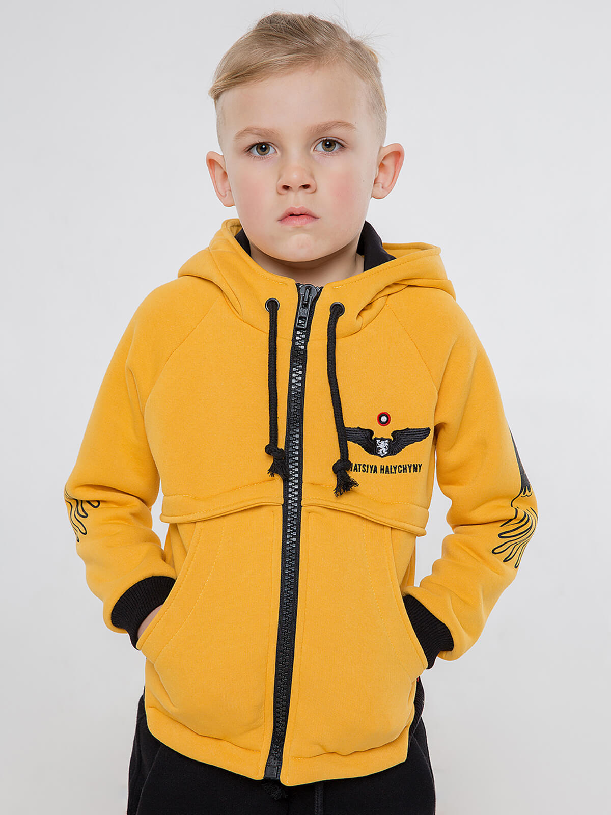 Kids Hoodie Stork. Color yellow. Hoodie: unisex, well suited for both boys and girls.
