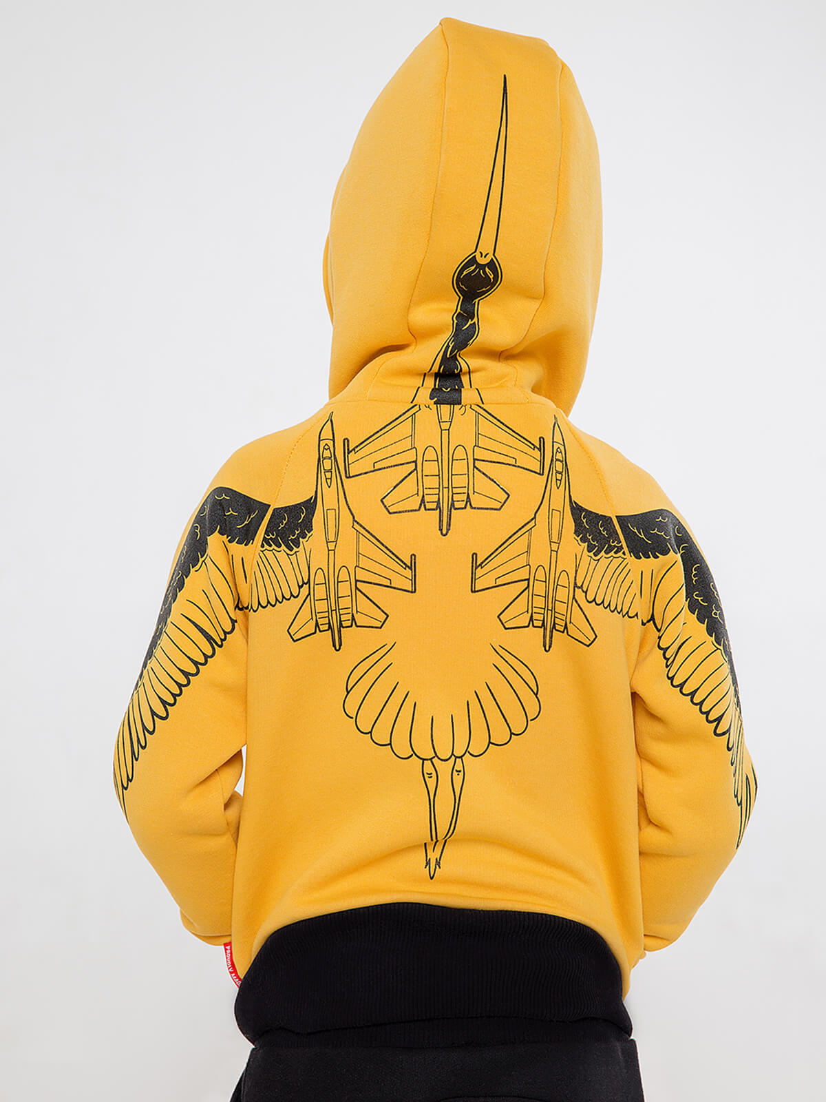 Kids Hoodie Stork. Color yellow.  Material of the hoodie – three-cord thread fabric: 77% cotton, 23% polyester.