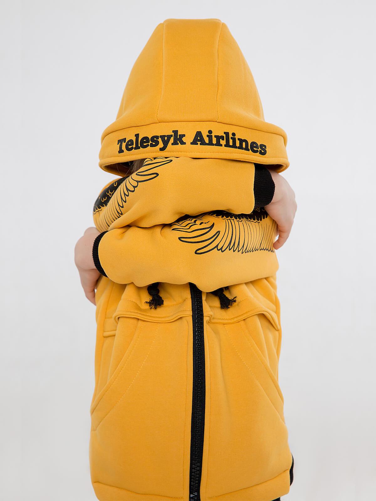 Дитяче Худі Бузько. Колір жовтий.  Технологія нанесення зображень: шовкодрук.