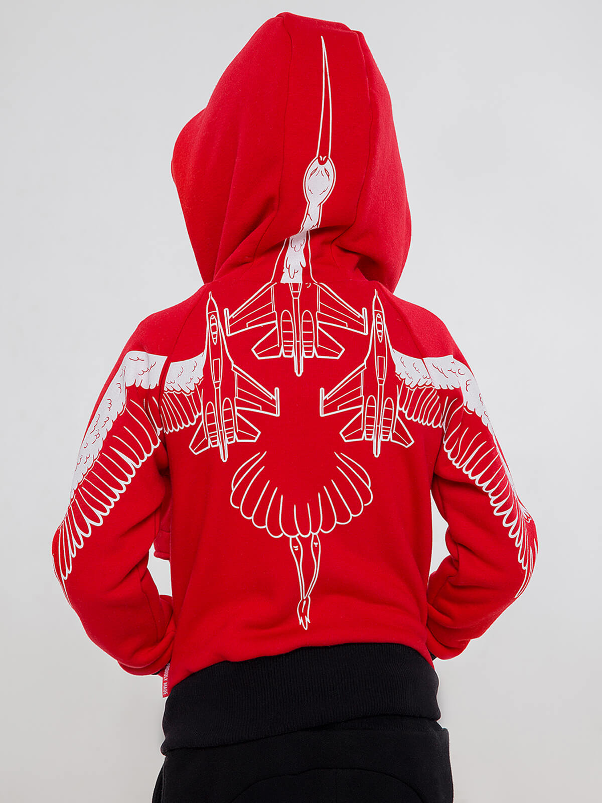 Kids Hoodie Stork. Color red.  Material of the hoodie – three-cord thread fabric: 77% cotton, 23% polyester.