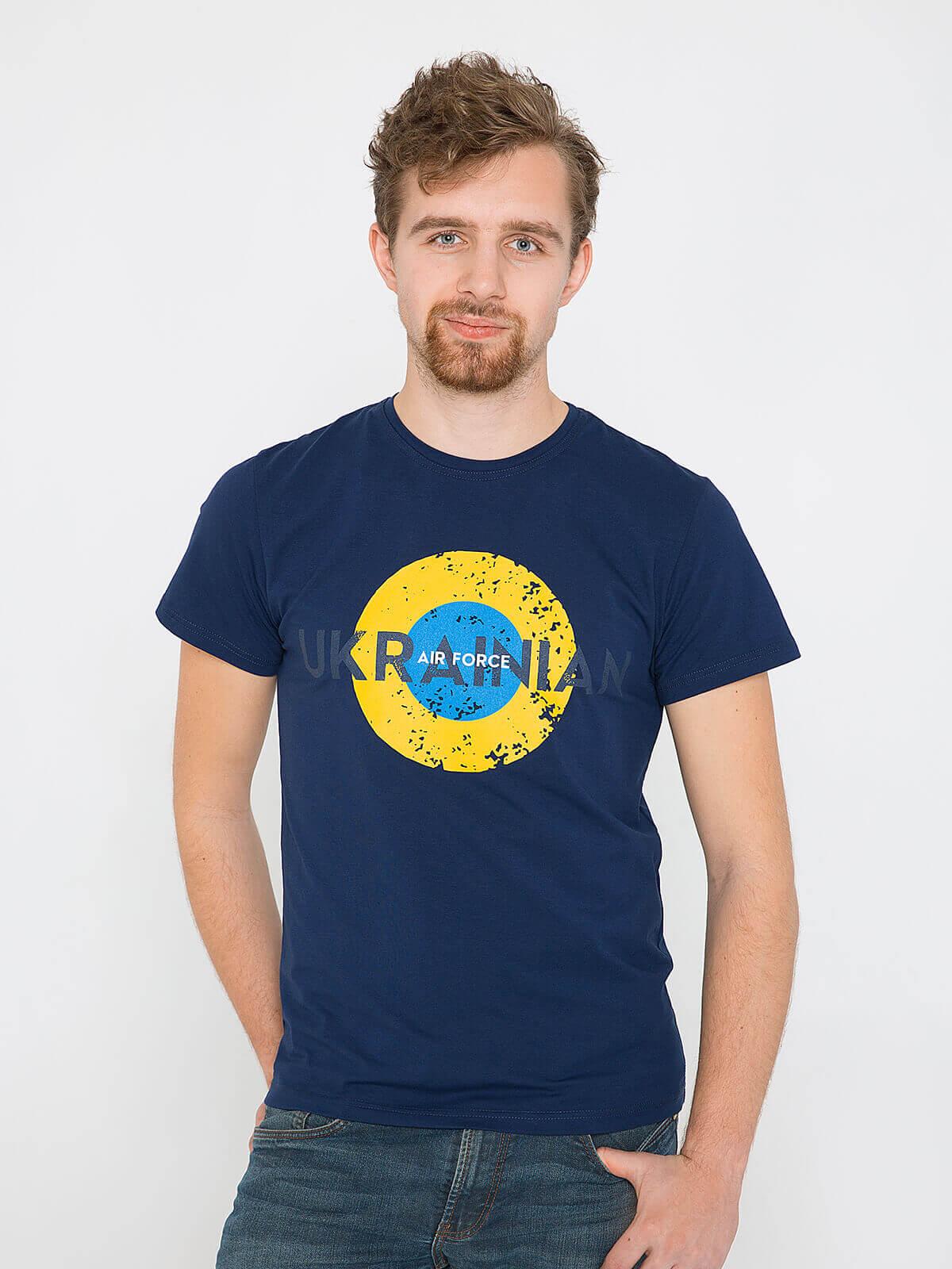Men's T-Shirt Ukrainian Air Force. Color dark blue. Unisex T-shirt (men's sizes).