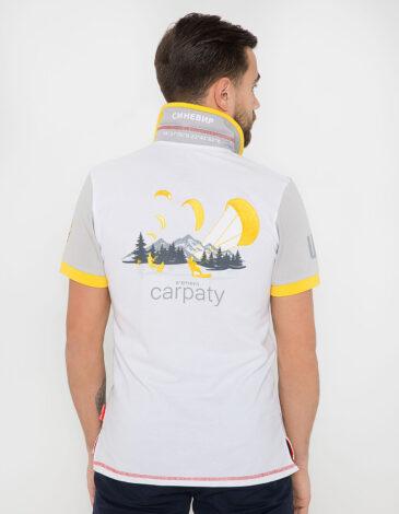 Men's Polo Shirt Synevyr. Color white. Pique fabric: 100% cotton.