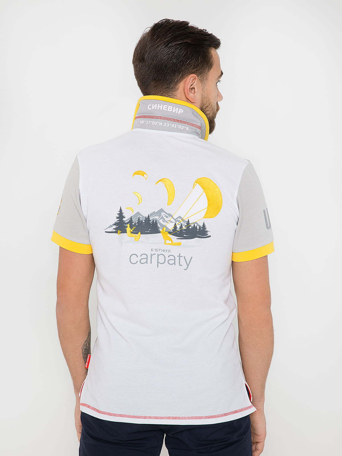 Men's Polo Shirt Synevyr. Color white.  Technique of prints applied: embroidery, silkscreen printing.