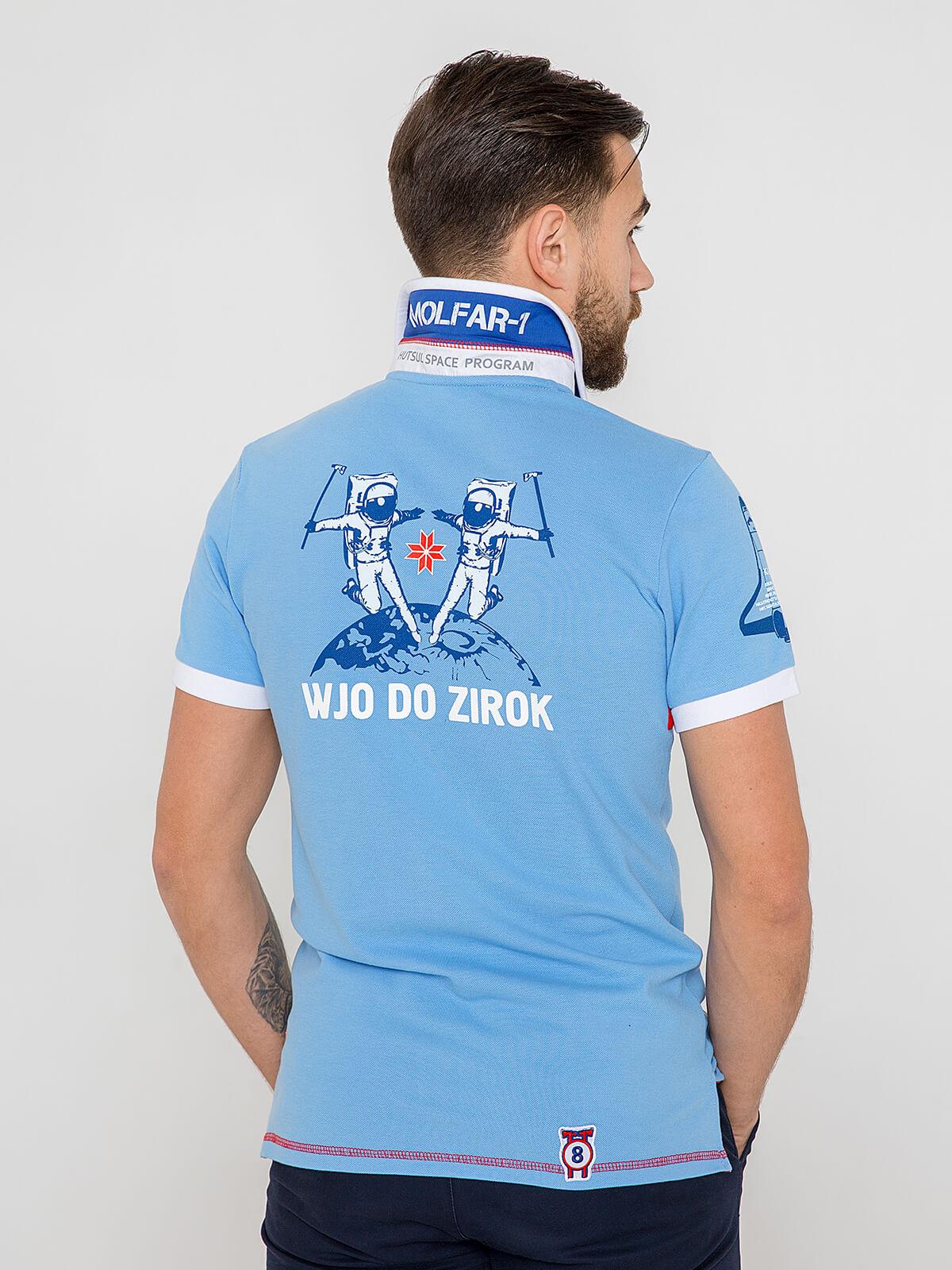 Men's Polo Shirt Molfar. Color sky blue.  Technique of prints applied: embroidery, silkscreen printing.