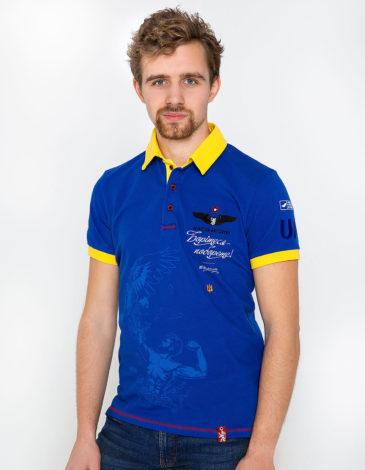 Men's Polo Shirt Taras Shevchenko. Color navy blue. Pique fabric: 100% cotton.