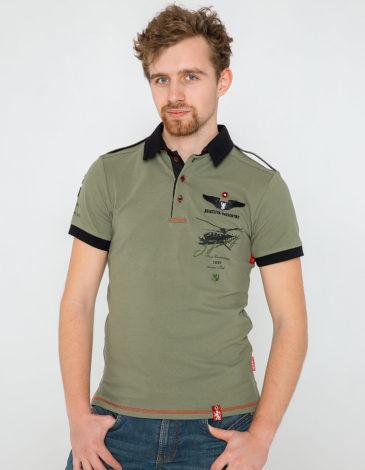 Men's Polo Shirt Sikorsky. Color khaki. Pique fabric: 100% cotton.