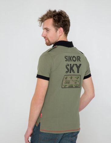 Чоловіче Поло Sikorsky. Колір хакі. Тканина піке: 100% бавовна.