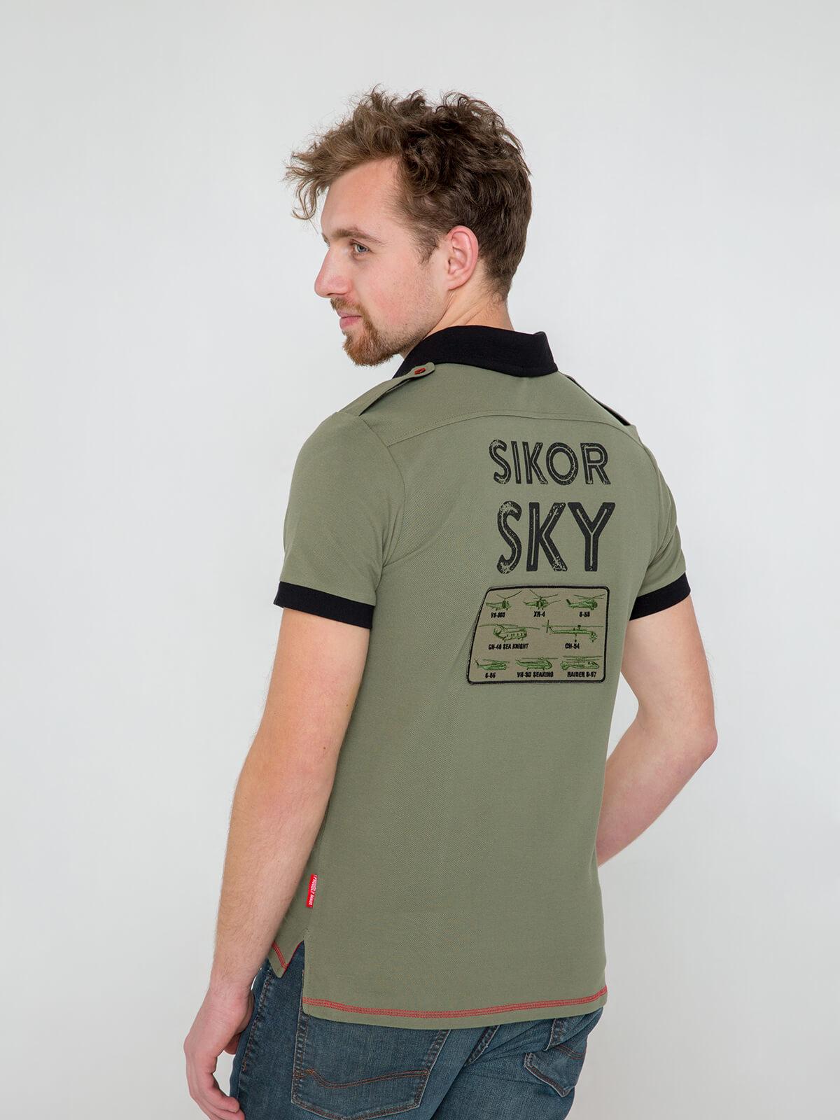 Men's Polo Shirt Sikorsky. Color khaki.  Technique of prints applied: embroidery, silkscreen printing, chevron.