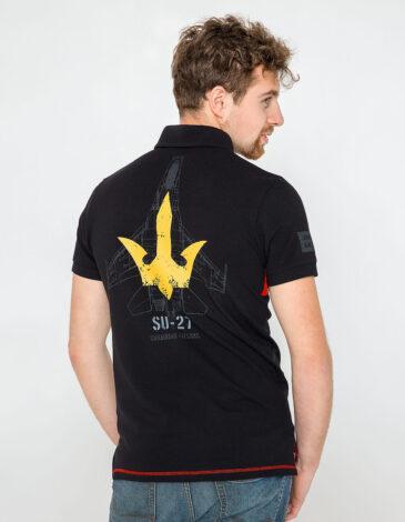 Men's Polo Shirt Ukrainian Falcons. Color black.  Technique of prints applied: embroidery, silkscreen printing.