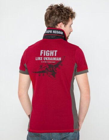 Men's Polo Shirt Flying Cossacks. Color claret.  Technique of prints applied: embroidery, silkscreen printing.