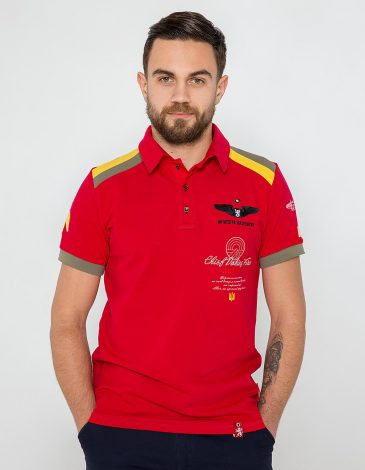 Men's Polo Shirt Indian. Color red.  Technique of prints applied: embroidery, silkscreen printing.