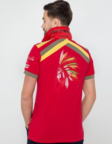 Men's Polo Shirt Indian. Color red. Pique fabric: 100% cotton.