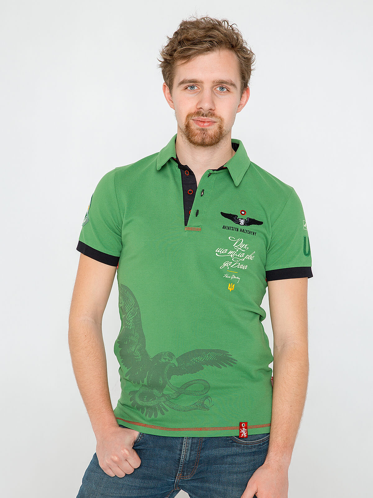 Men's Polo Shirt Ivan Franko. Color green. Pique fabric: 100% cotton.