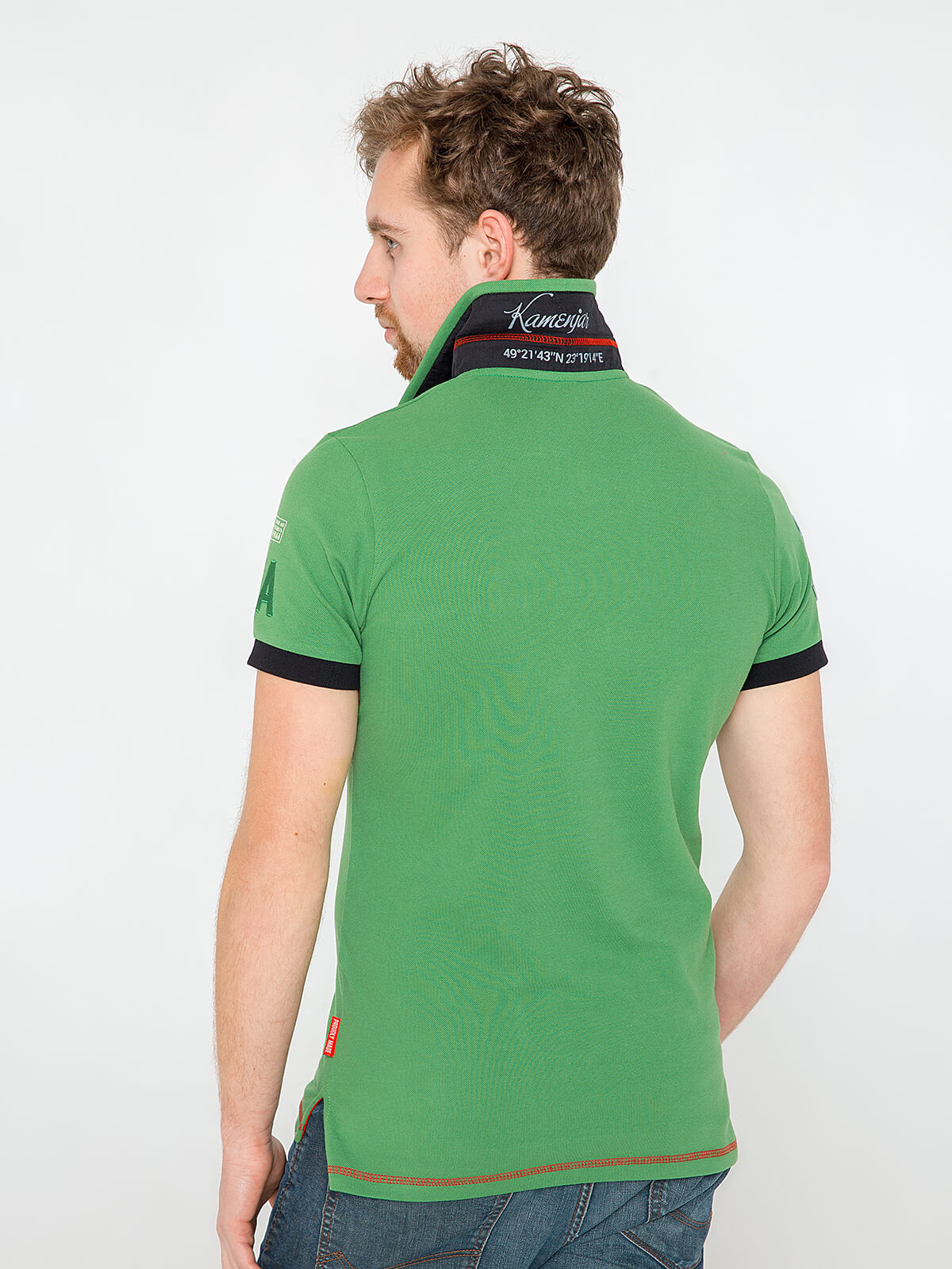 Men's Polo Shirt Ivan Franko. Color green.  Technique of prints applied:   embroidery, silkscreen printing, chevron.