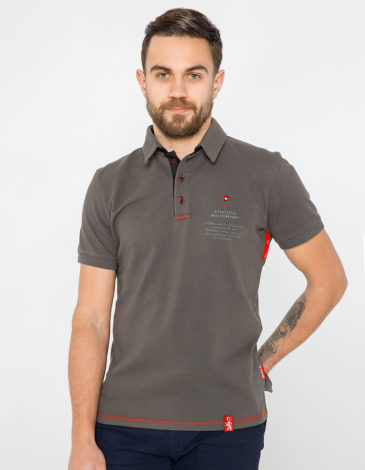 Men's Polo Shirt Wings. Color Khaki. Unisex polo (men's sizes).