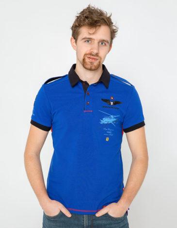 Men's Polo Shirt Sikorsky. Color navy blue. Pique fabric: 100% cotton.