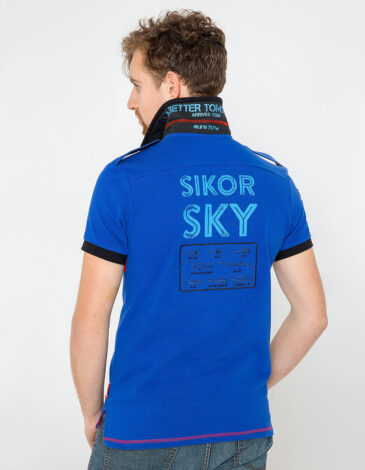 Men's Polo Shirt Sikorsky. Color navy blue.  Technique of prints applied: embroidery, silkscreen printing, chevron.