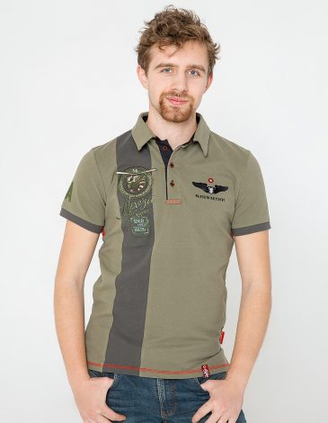 Men's Polo Shirt 16 16 Brigade. Color khaki.  Technique of prints applied: embroidery, silkscreen printing.