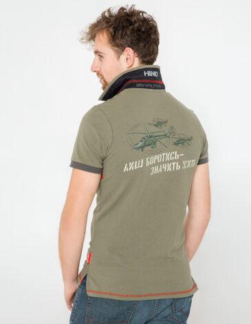 Men's Polo Shirt 16 16 Brigade. Color khaki.  Technique of prints applied: embroidery, silkscreen printing.