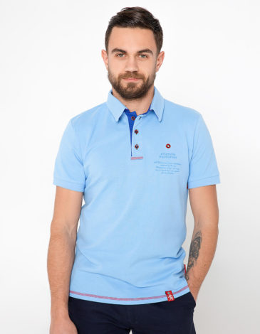 Men's Polo Shirt Wings. Color sky blue.  Height of the model: 180 cm.