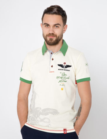 Men's Polo Shirt Ivan Franko. Color ivory.  Technique of prints applied:  embroidery, silkscreen printing, chevron.